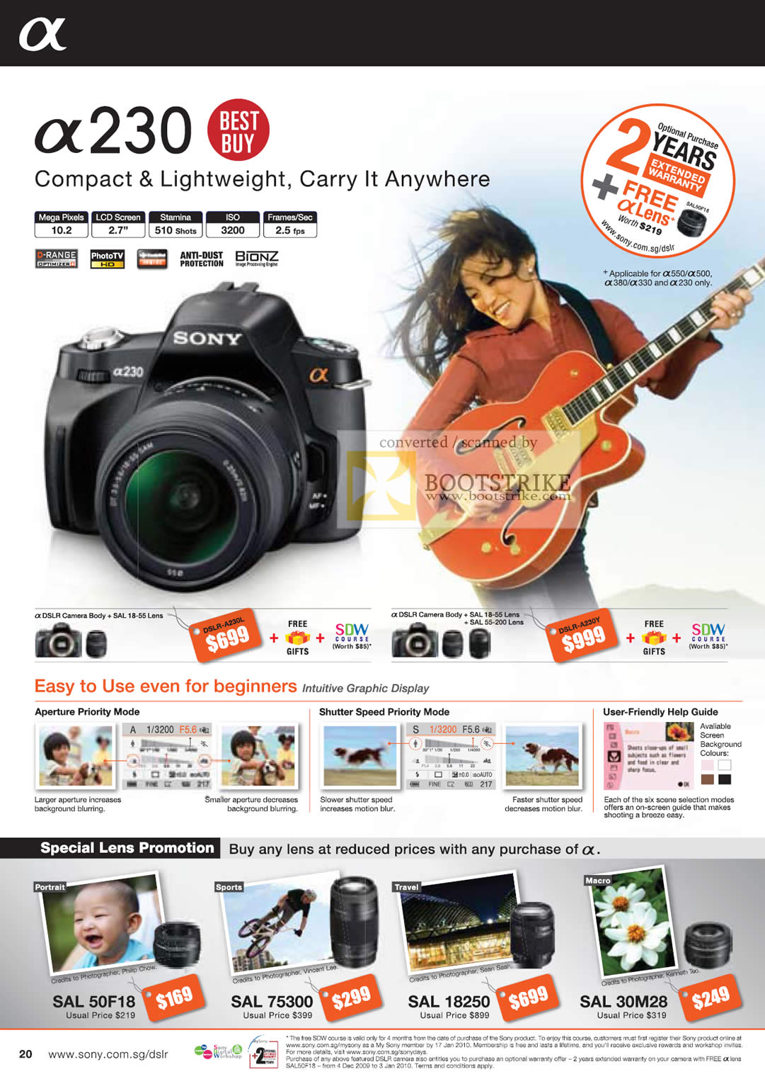 Camera List Of Sony Dslr Camera With Price sony alpha dslr digital cameras a230 c3 2009 price list brochure image of a230