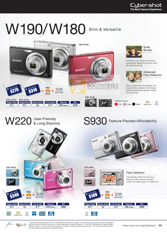 Sony Cybershot Digital Cameras DSC W190 W180 W220 S930 C3 ...