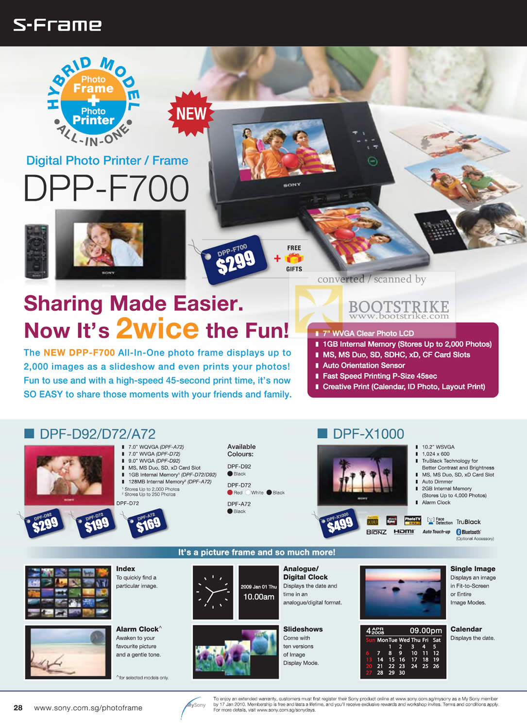 Sony Digital Photo Printer Frame S-Frame DPP F700 DPF D92 X1000 C3 ...
