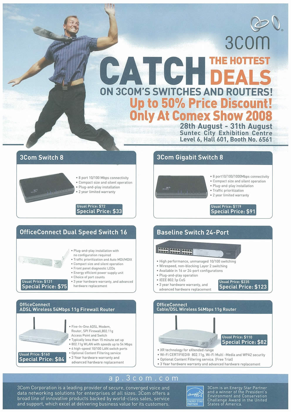 Comex 2008 price list image brochure of 3Com Gigabit Switch Page 1