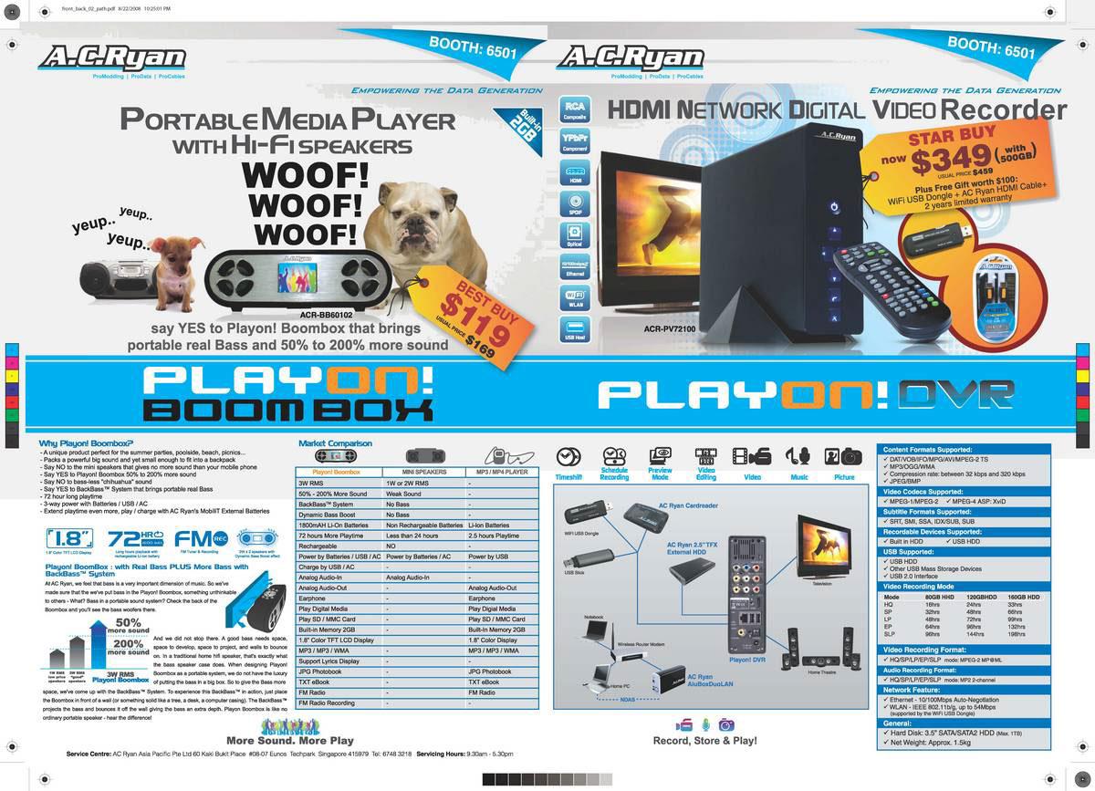Comex 2008 price list image brochure of AC Ryan 1
