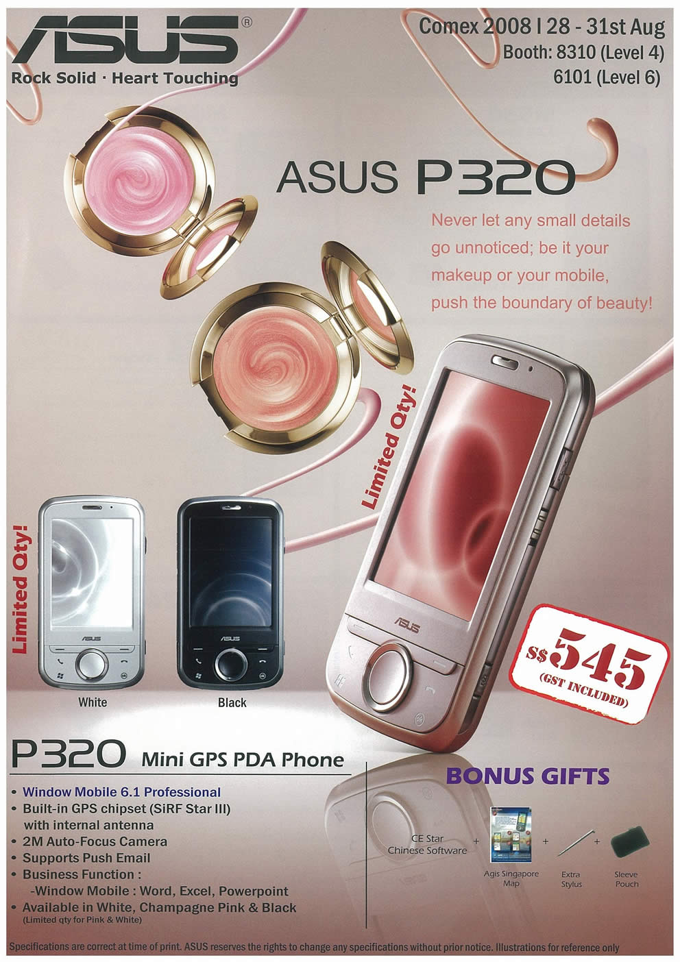 Comex 2008 price list image brochure of ASUS PDA Phones Page 1
