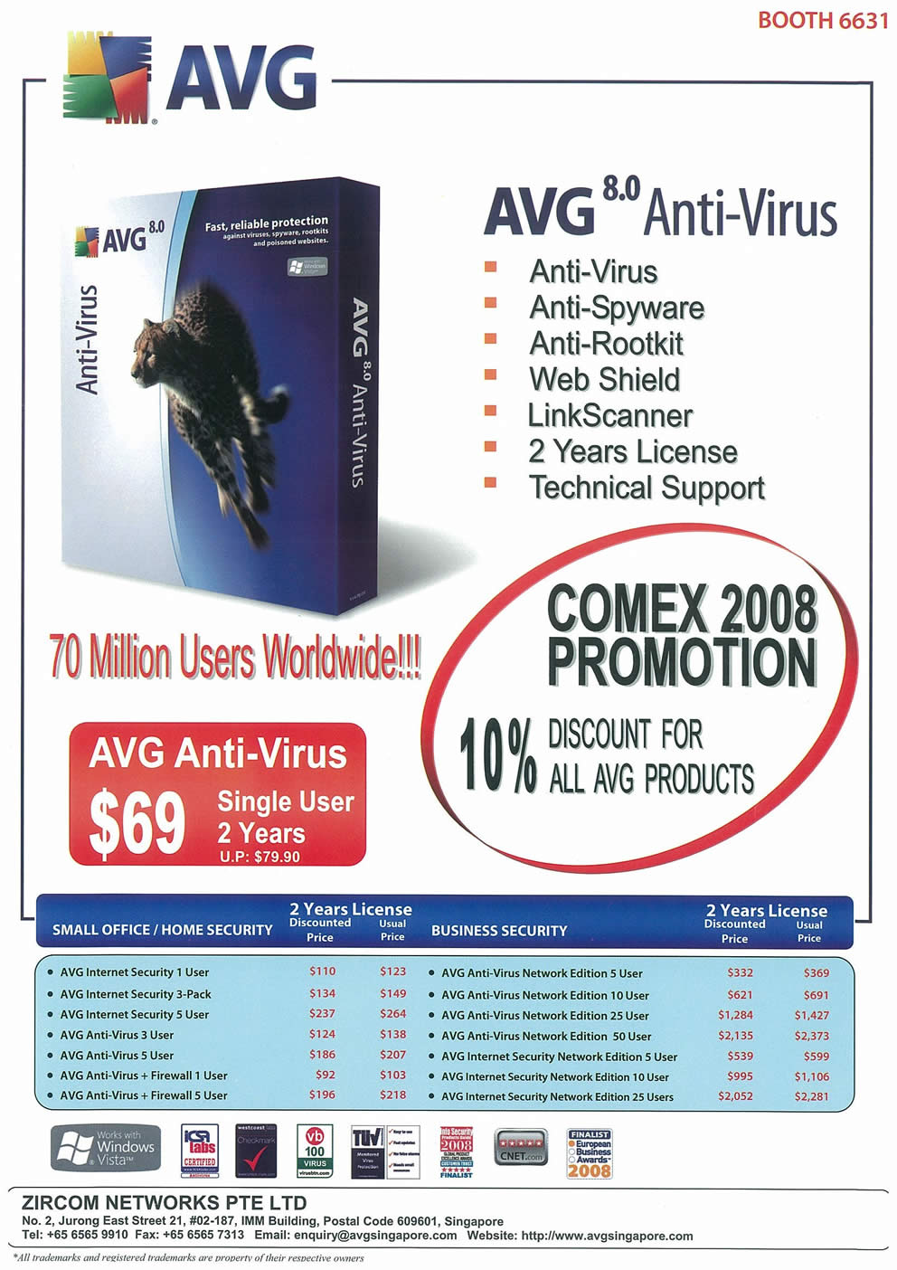 Comex 2008 price list image brochure of AVG