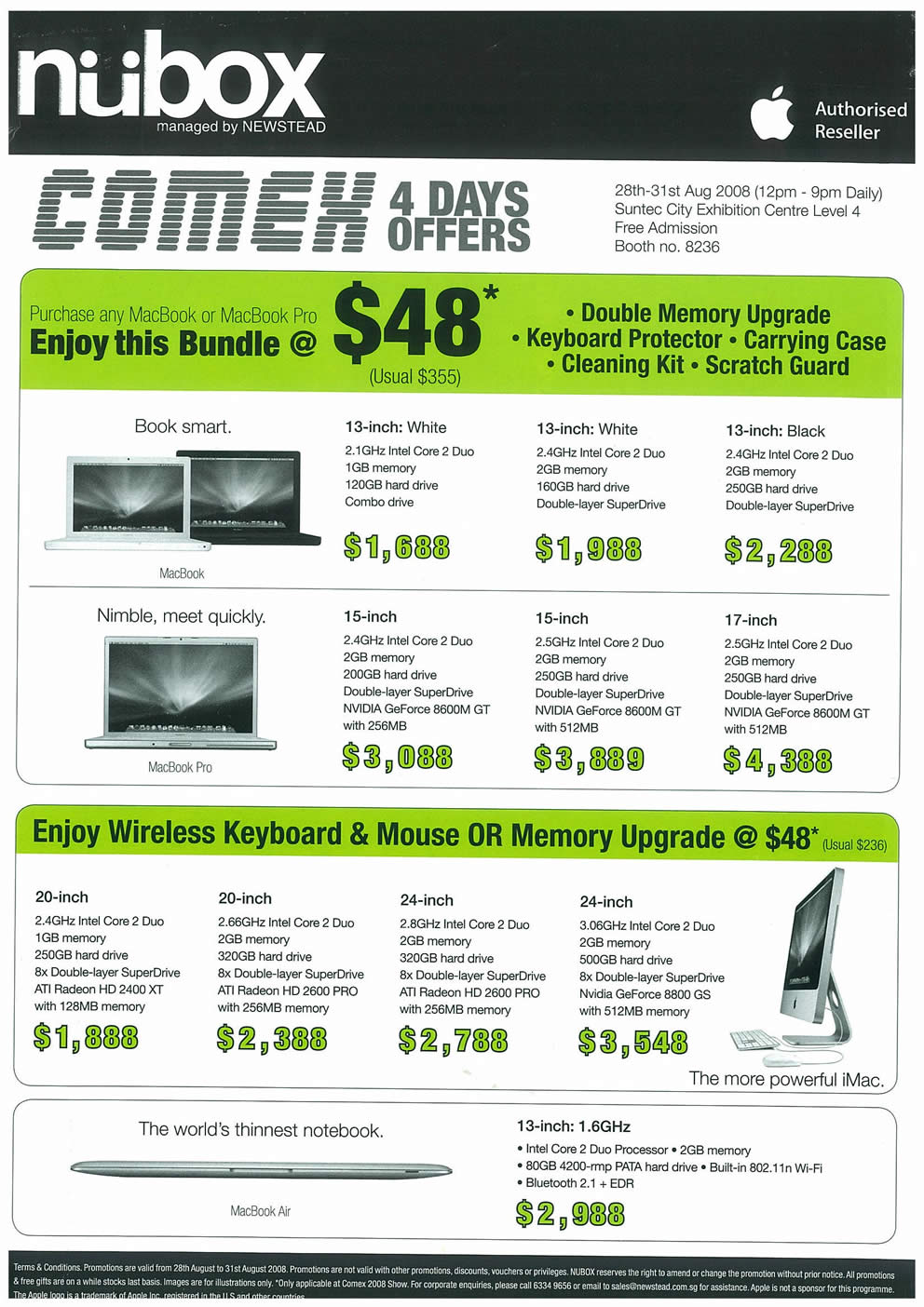 Comex 2008 price list image brochure of Apple Macbooks