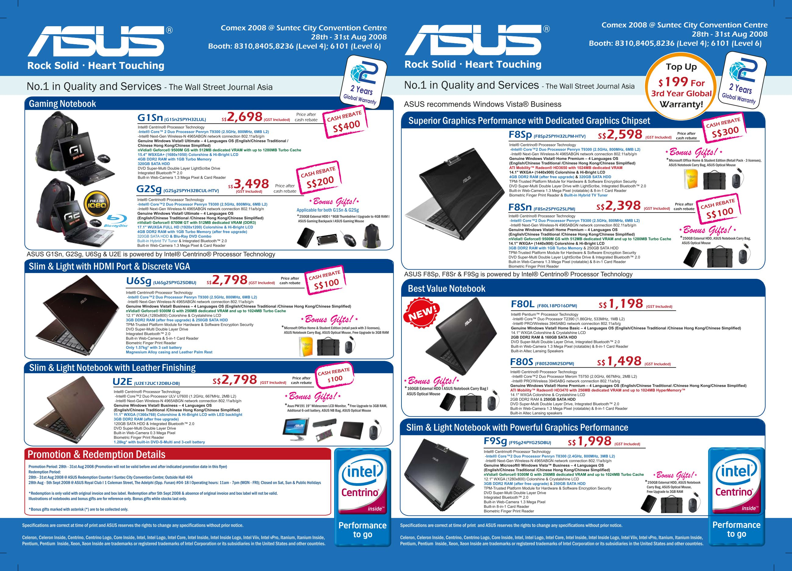 Comex 2008 price list image brochure of Asus Notebooks 1