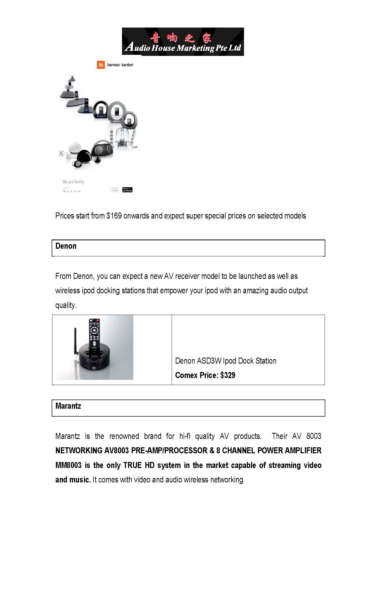 Comex 2008 price list image brochure of Audio House Sound 4