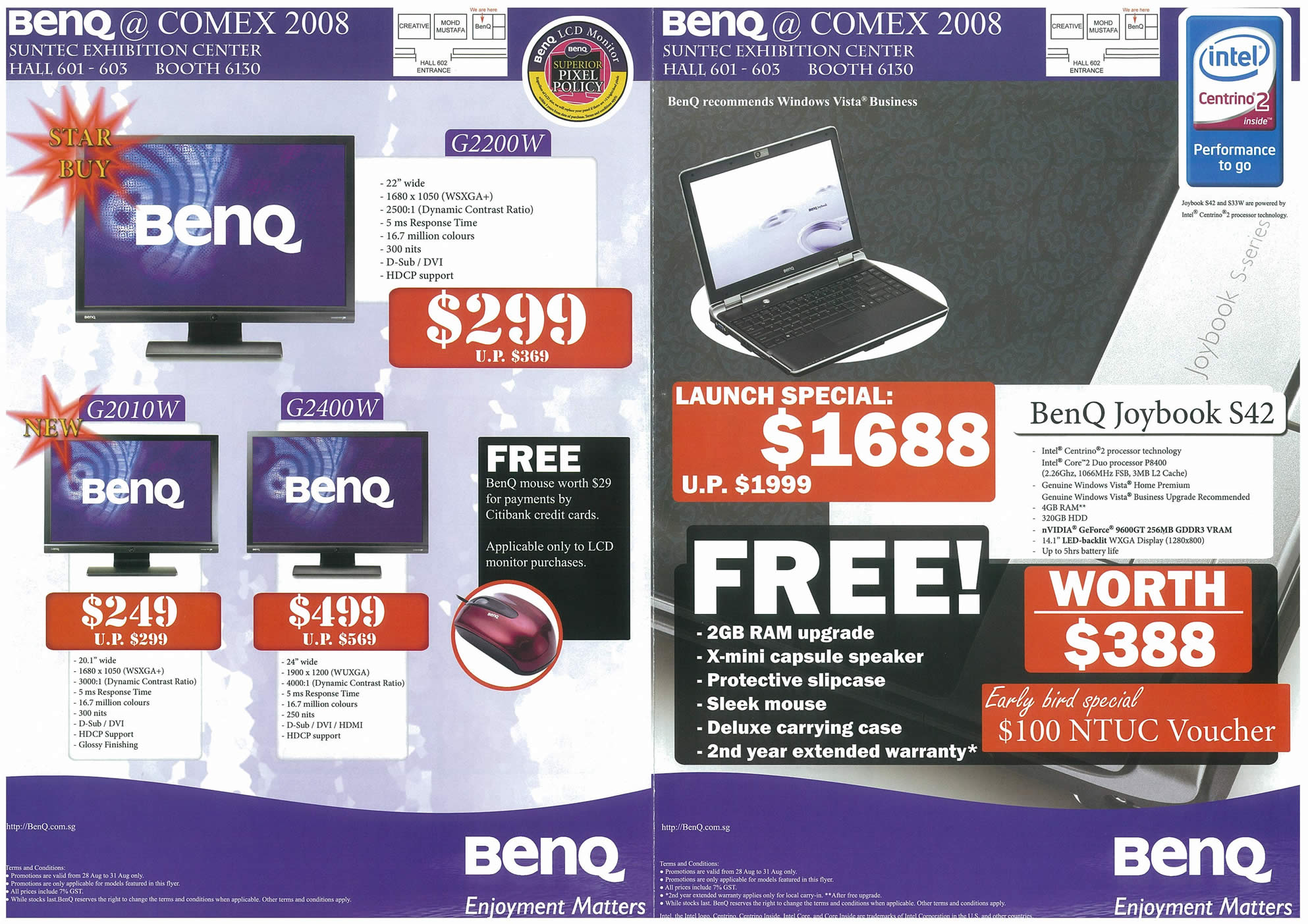 Comex 2008 price list image brochure of BenQ Page 1