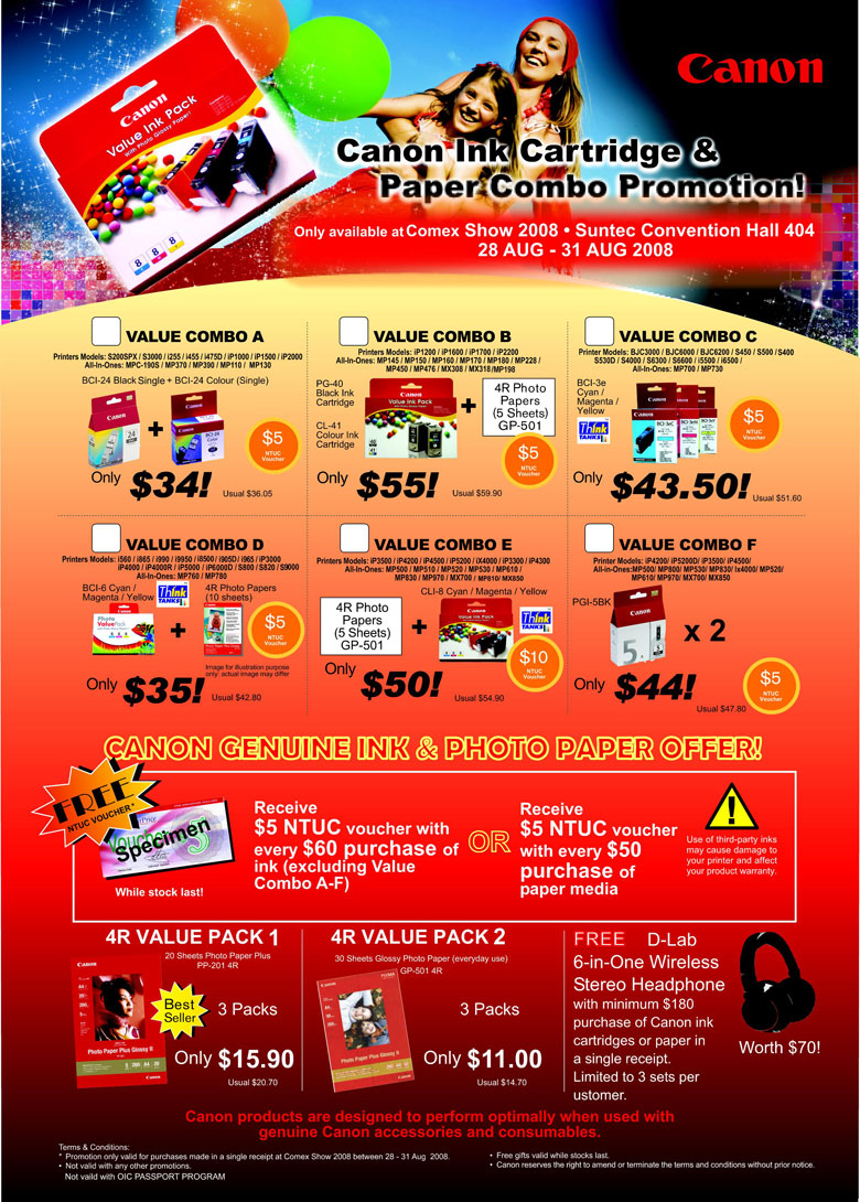 Comex 2008 price list image brochure of Canon Consumables