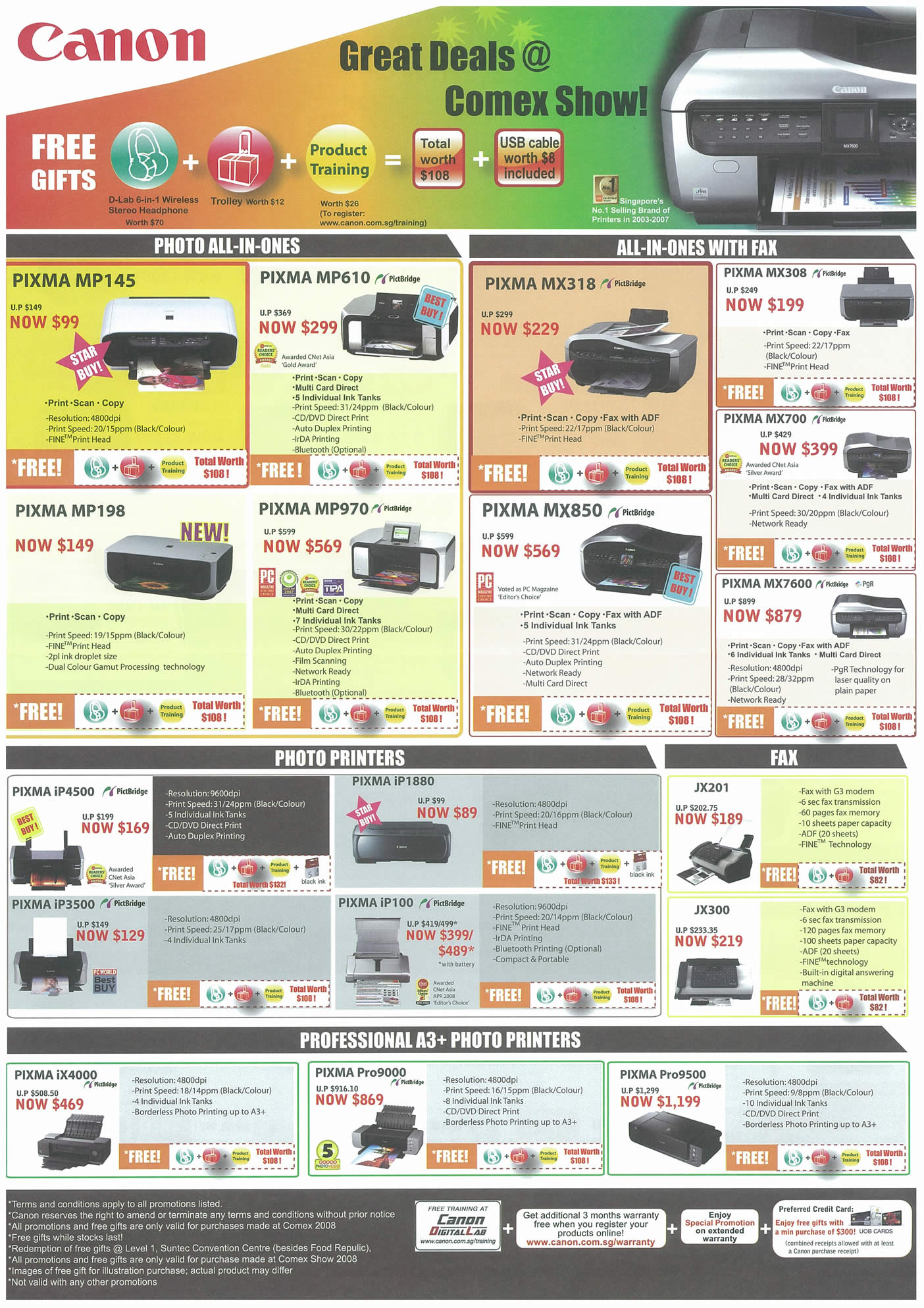 Comex 2008 price list image brochure of Canon Printers Page 1