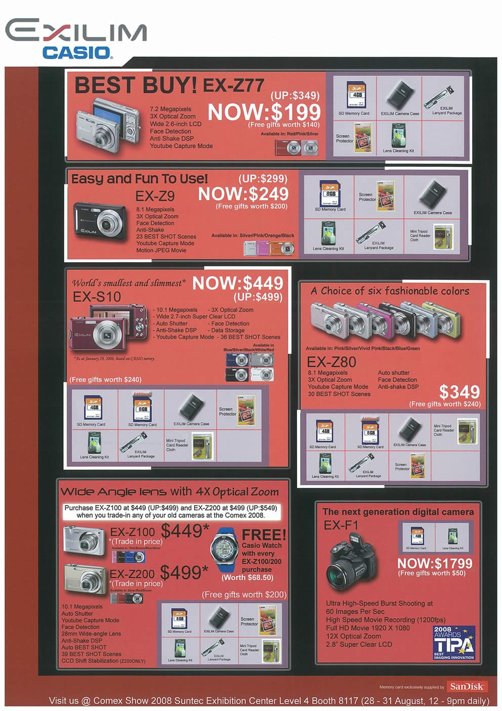Comex 2008 price list image brochure of Casio Exilim Page 2