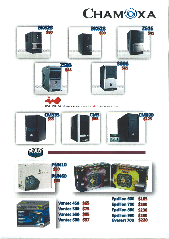 Comex 2008 price list image brochure of Chamoxa Chassis Cooler Master PSU