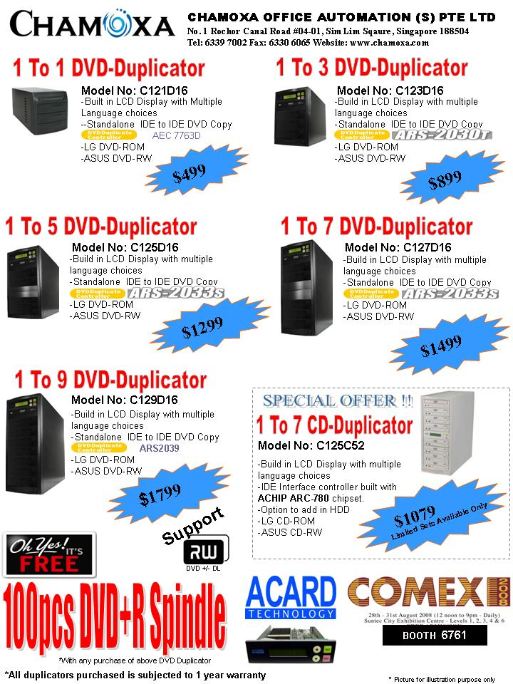 Comex 2008 price list image brochure of Chamoxa DVD Duplicator