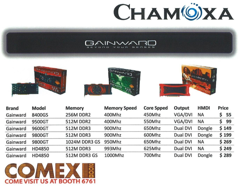 Comex 2008 price list image brochure of Chamoxa Gainward Graphics Cards