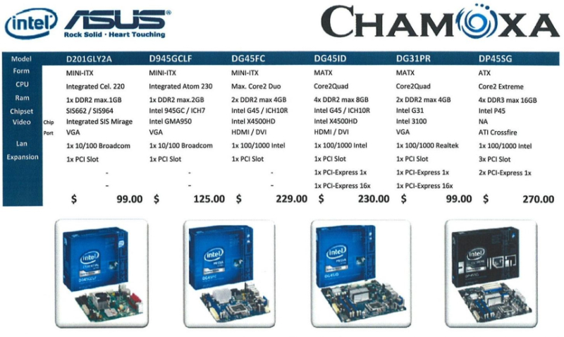 Comex 2008 price list image brochure of Chamoxa Intel Asus Motherboard CPU 1