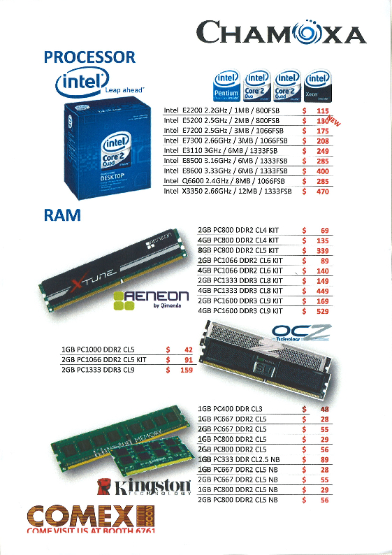 Comex 2008 price list image brochure of Chamoxa Intel Processor Aeneon Kingston OCZ RAM