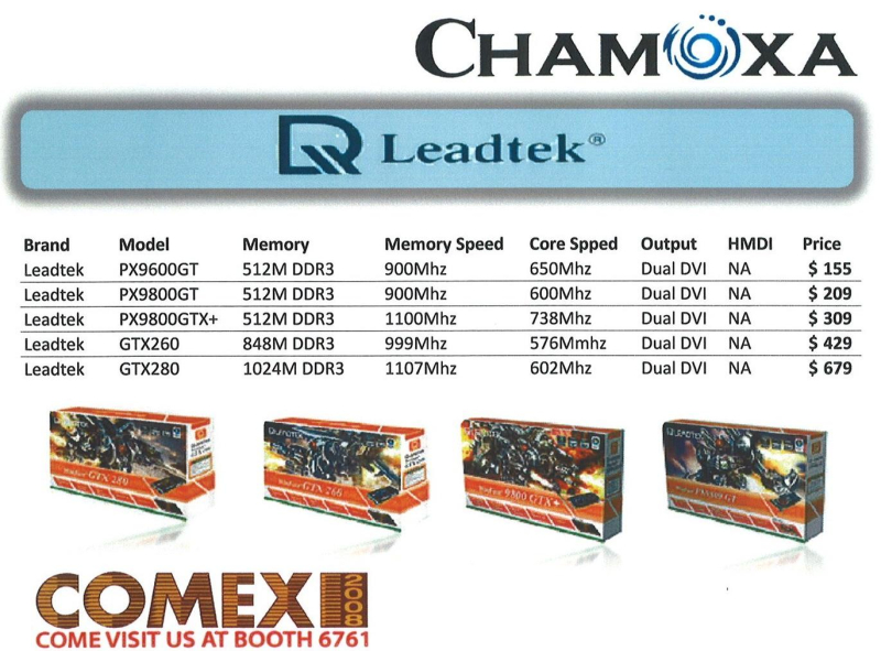 Comex 2008 price list image brochure of Chamoxa Leqadtek Graphics Cards