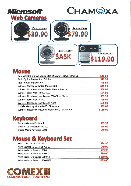 Comex 2008 price list image brochure of Chamoxa Microsoft Mouse Keyboard