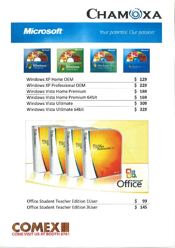 Comex 2008 price list image brochure of Chamoxa Microsoft Windows Office