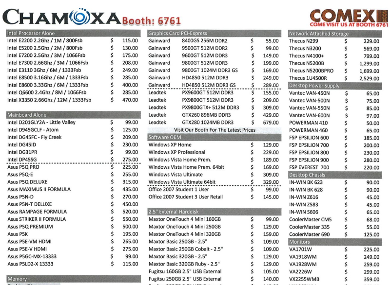 Comex 2008 price list image brochure of Chamoxa Price List 1