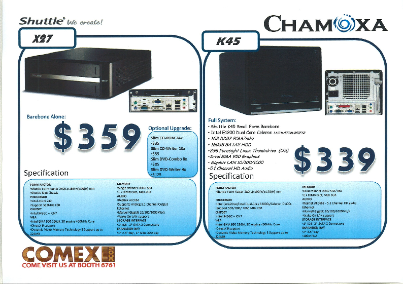 Comex 2008 price list image brochure of Chamoxa Shuttle SFF