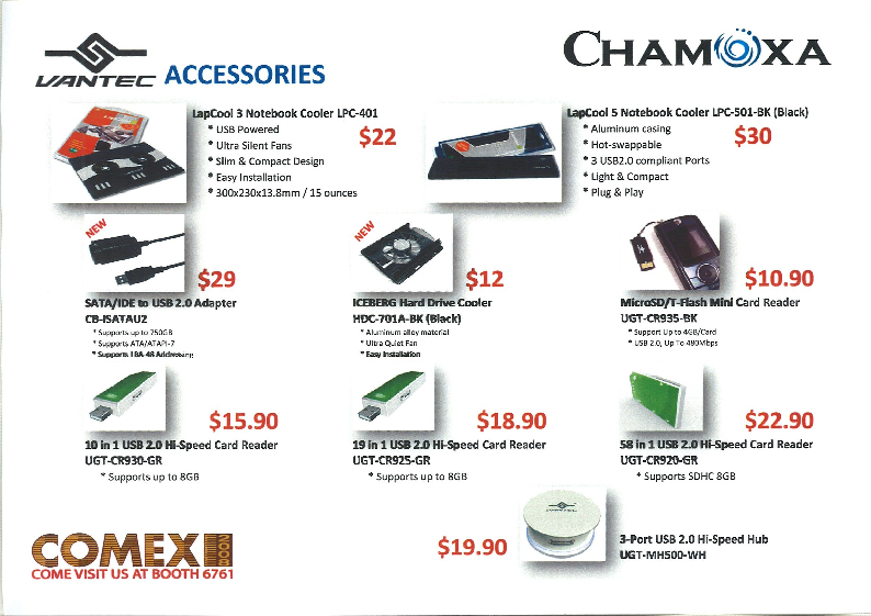 Comex 2008 price list image brochure of Chamoxa Vantec Accessories