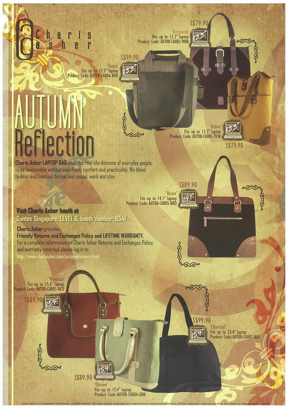 Comex 2008 price list image brochure of Charis Asher Laptop Bags Page 1