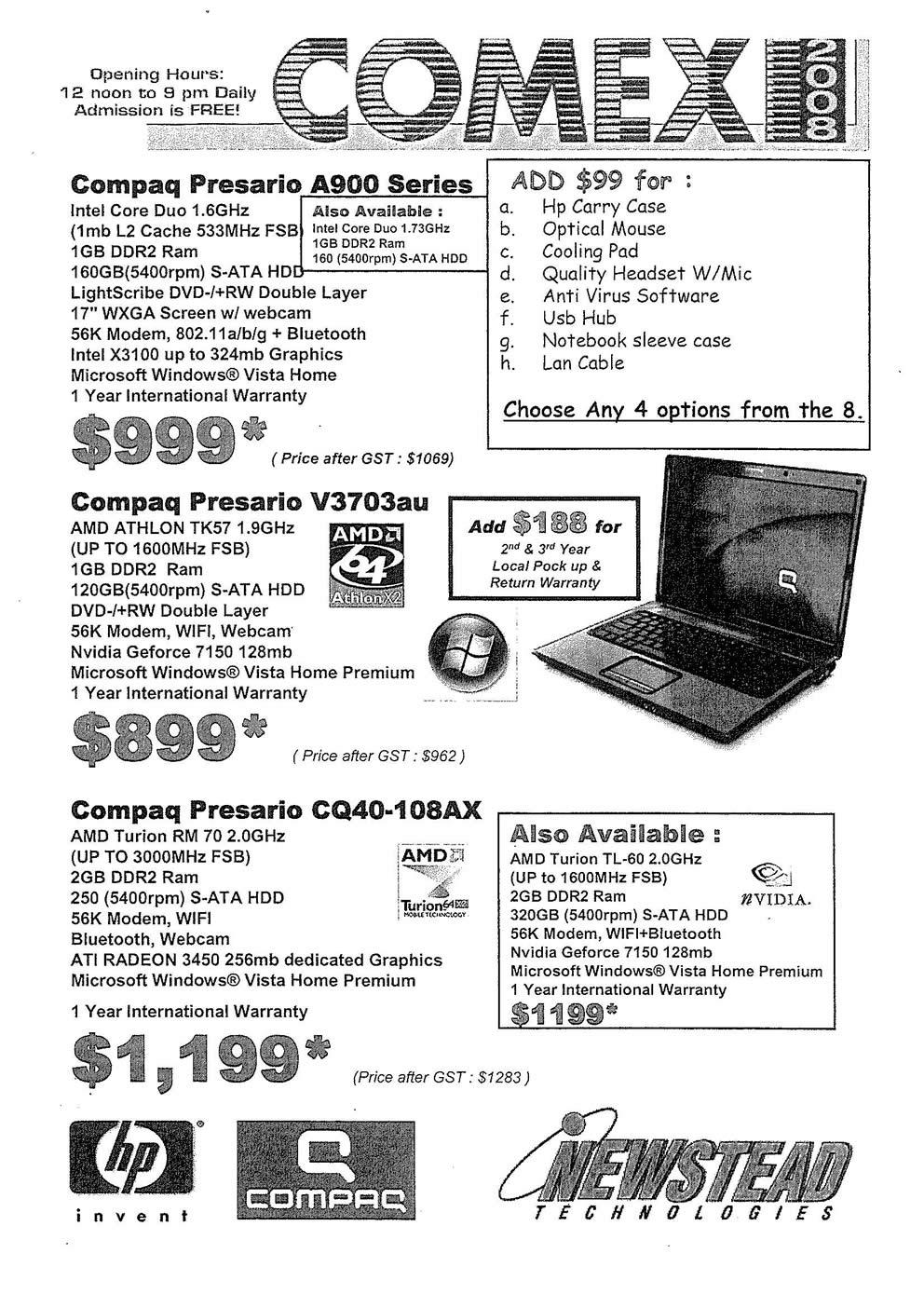 Comex 2008 price list image brochure of Compaq Presario Page 1