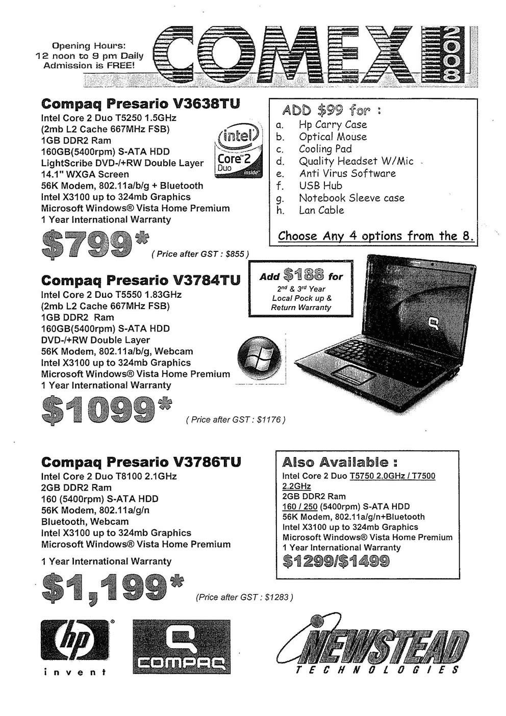 Comex 2008 price list image brochure of Compaq Presario Page 2
