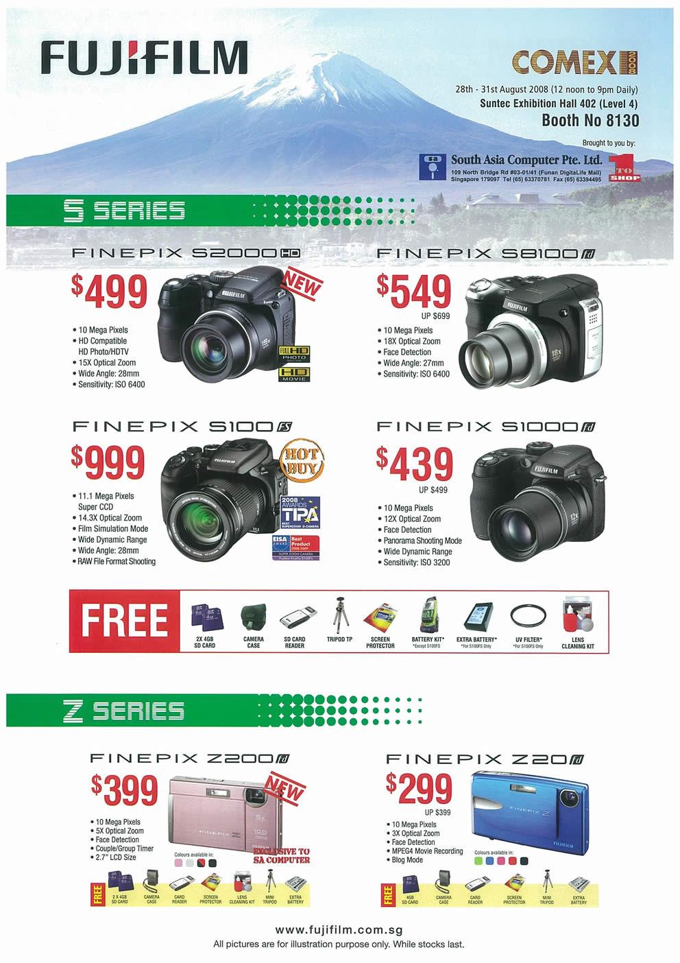 Comex 2008 price list image brochure of FujiFilm FinePix Cameras Page 1