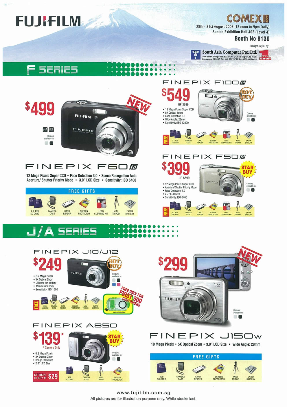 Comex 2008 price list image brochure of FujiFilm FinePix Cameras Page 2
