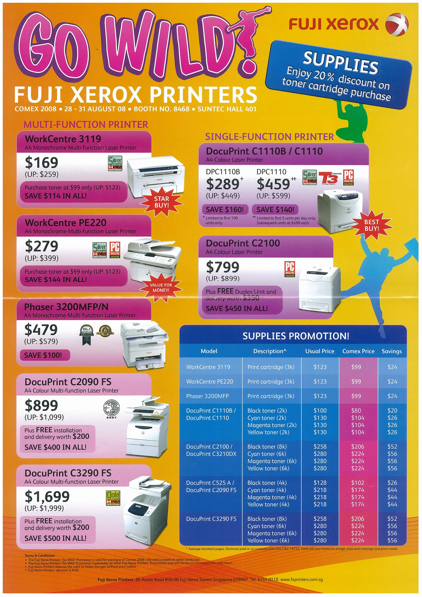Comex 2008 price list image brochure of Fuji Xerox Printers Page 1