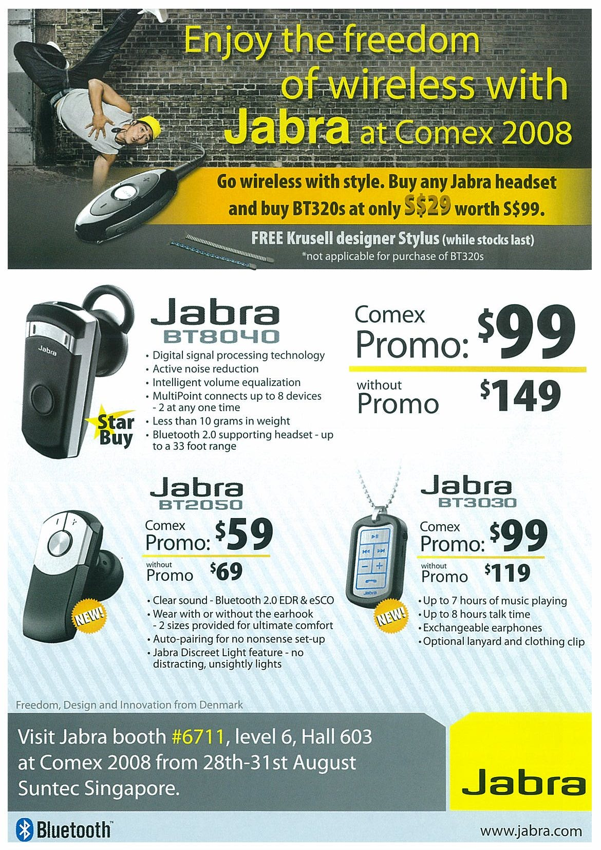 Comex 2008 price list image brochure of Jabra Page 1
