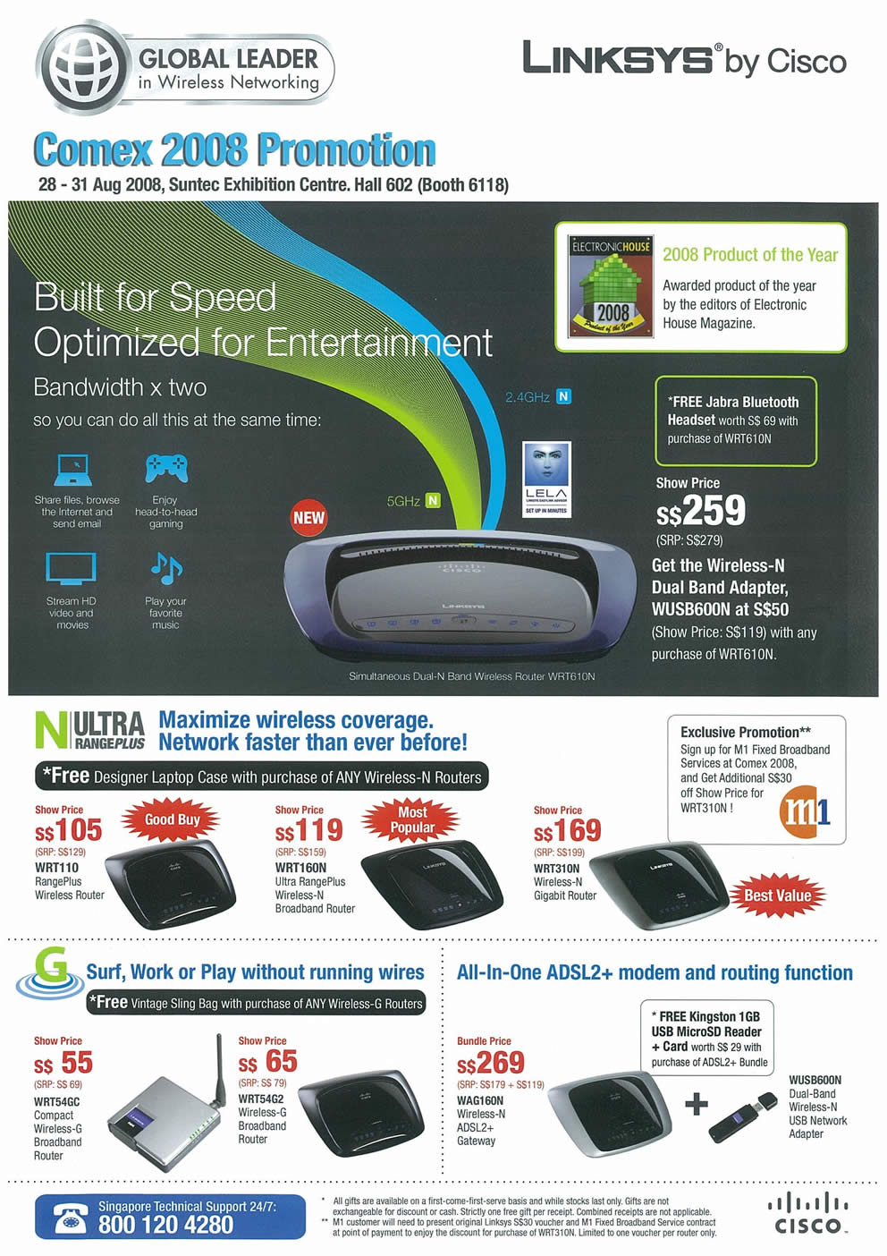 Comex 2008 price list image brochure of Linksys Page 1