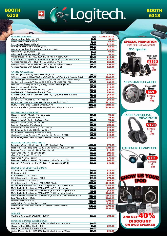 Logitech Price List COMEX 2008 Price List Brochure Flyer Image – Price List