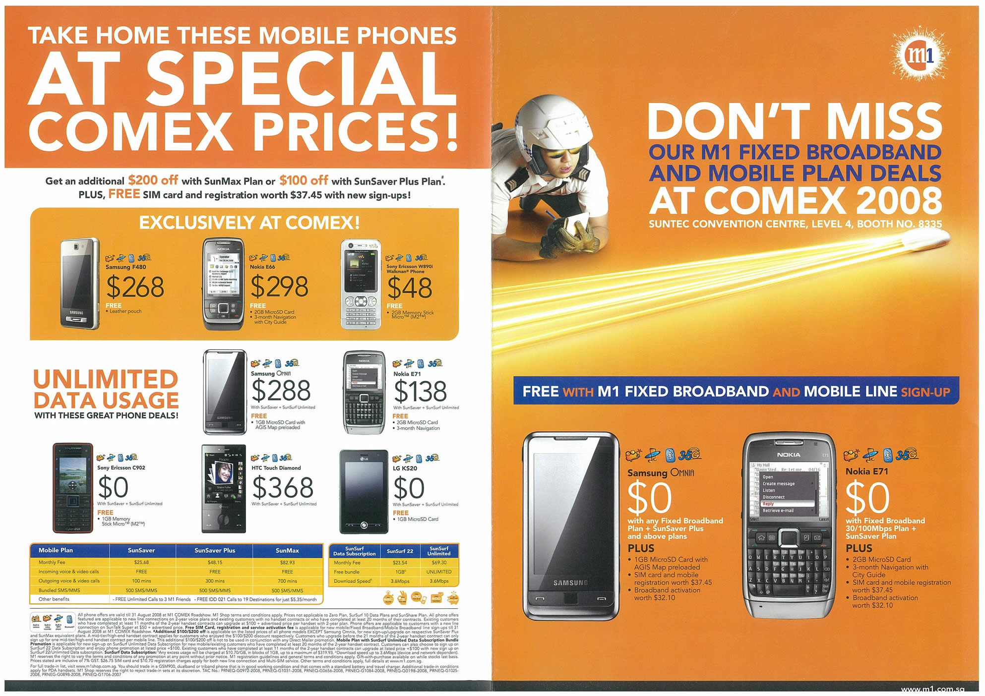 Comex 2008 price list image brochure of M1 Page 1