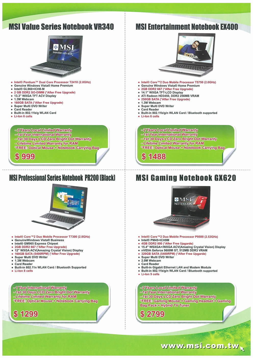 Comex 2008 price list image brochure of MSI Notebooks Page 2
