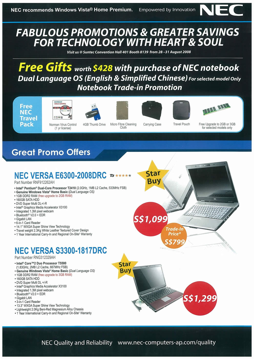 Comex 2008 price list image brochure of NEC Notebooks Page 1