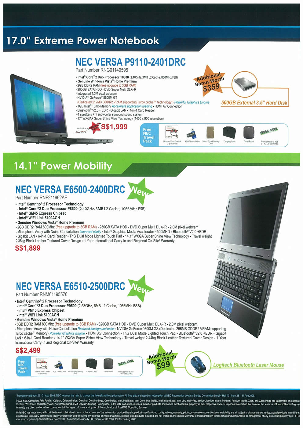 Comex 2008 price list image brochure of NEC Notebooks Page 3
