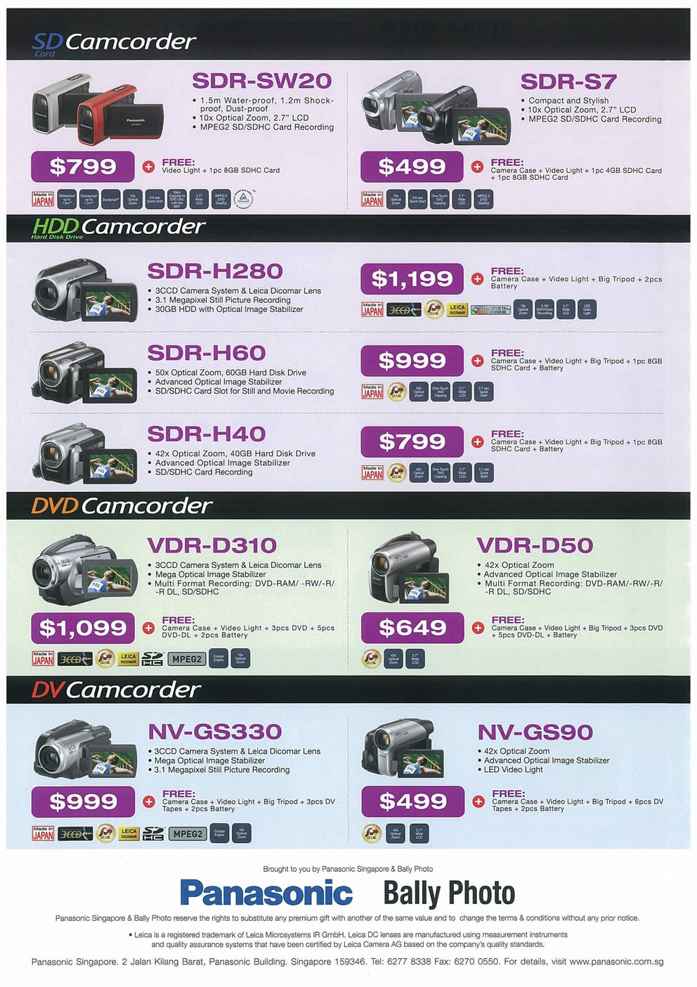 Comex 2008 price list image brochure of Panasonic Cameras Camcorders Page 4
