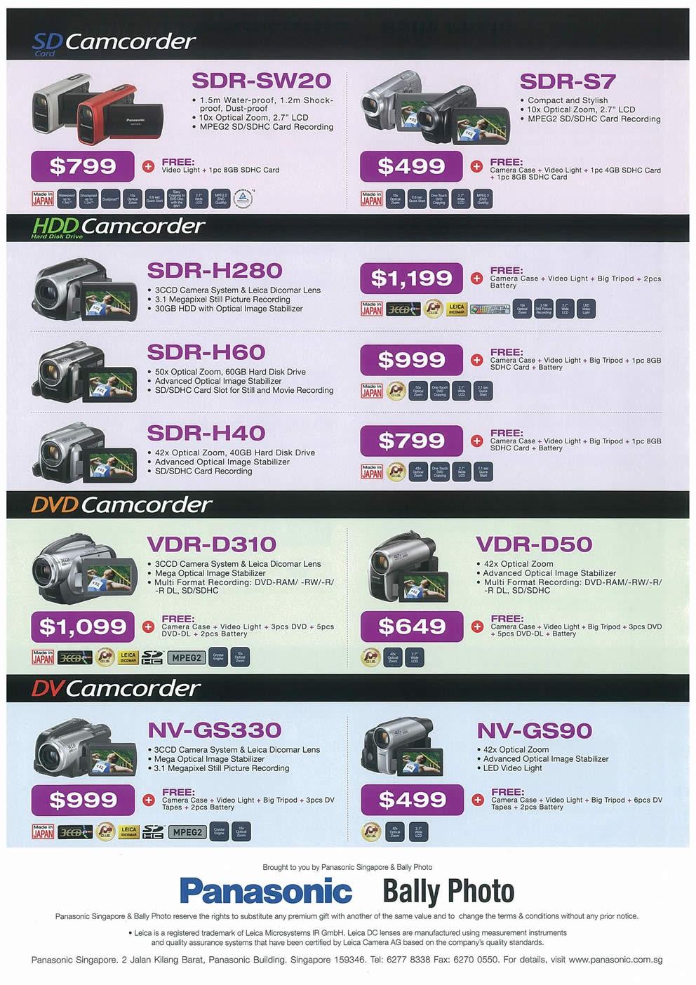 Comex 2008 price list image brochure of Panasonic Cameras Camcorders Page 4