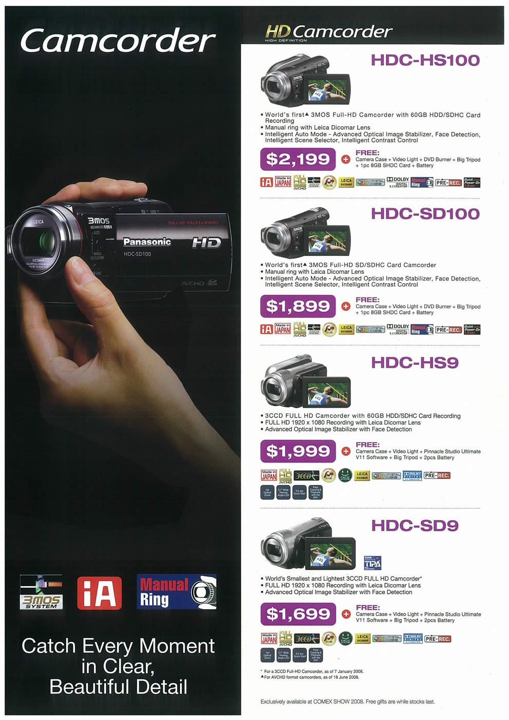 Comex 2008 price list image brochure of Panasonic Cameras Camcorders Page 6