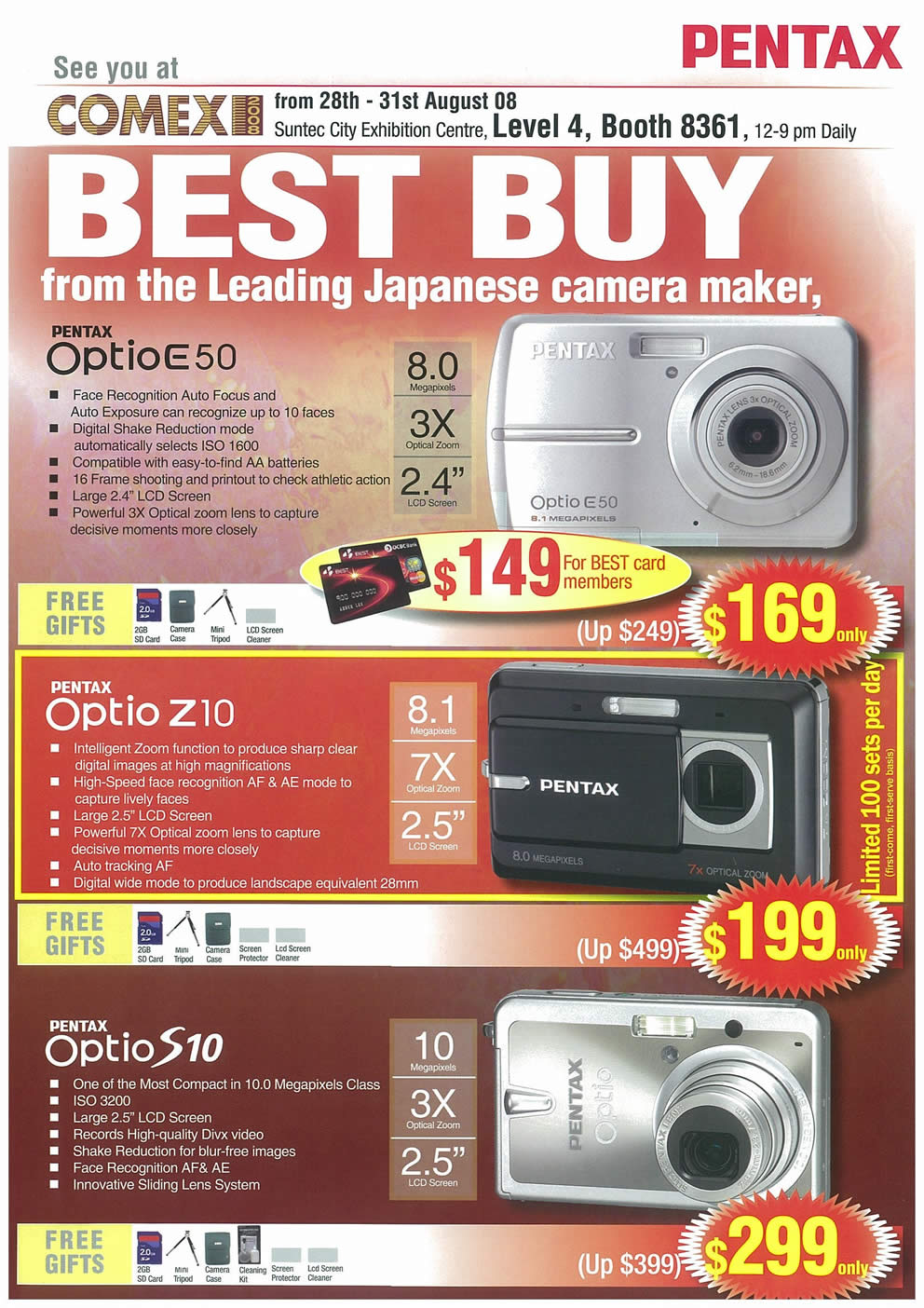 Comex 2008 price list image brochure of Pentax Cameras Page 1