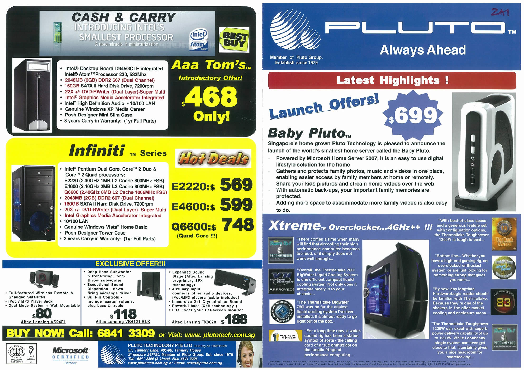 Comex 2008 price list image brochure of Pluto Page 1