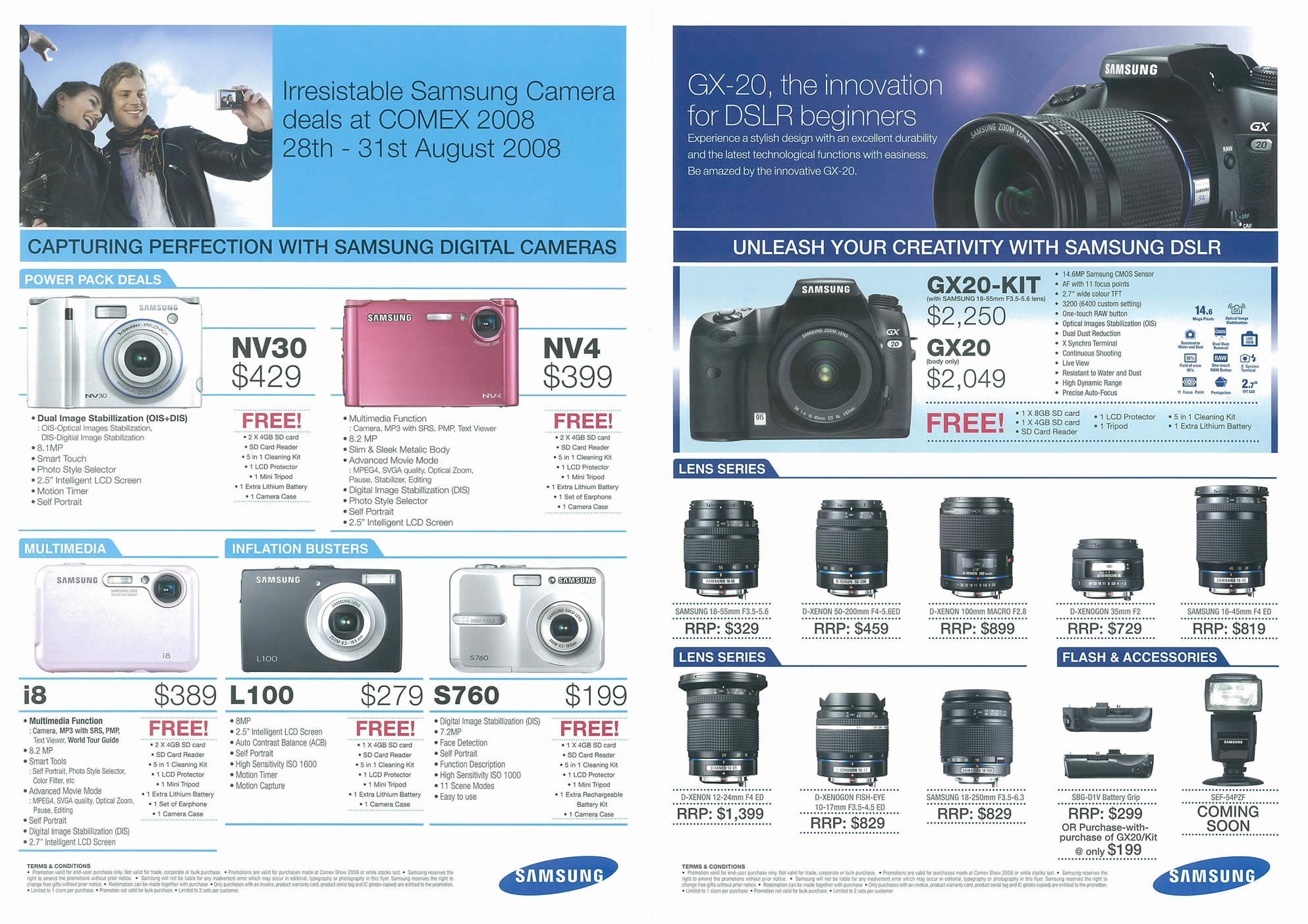 Comex 2008 price list image brochure of Samsung Cameras Page 2