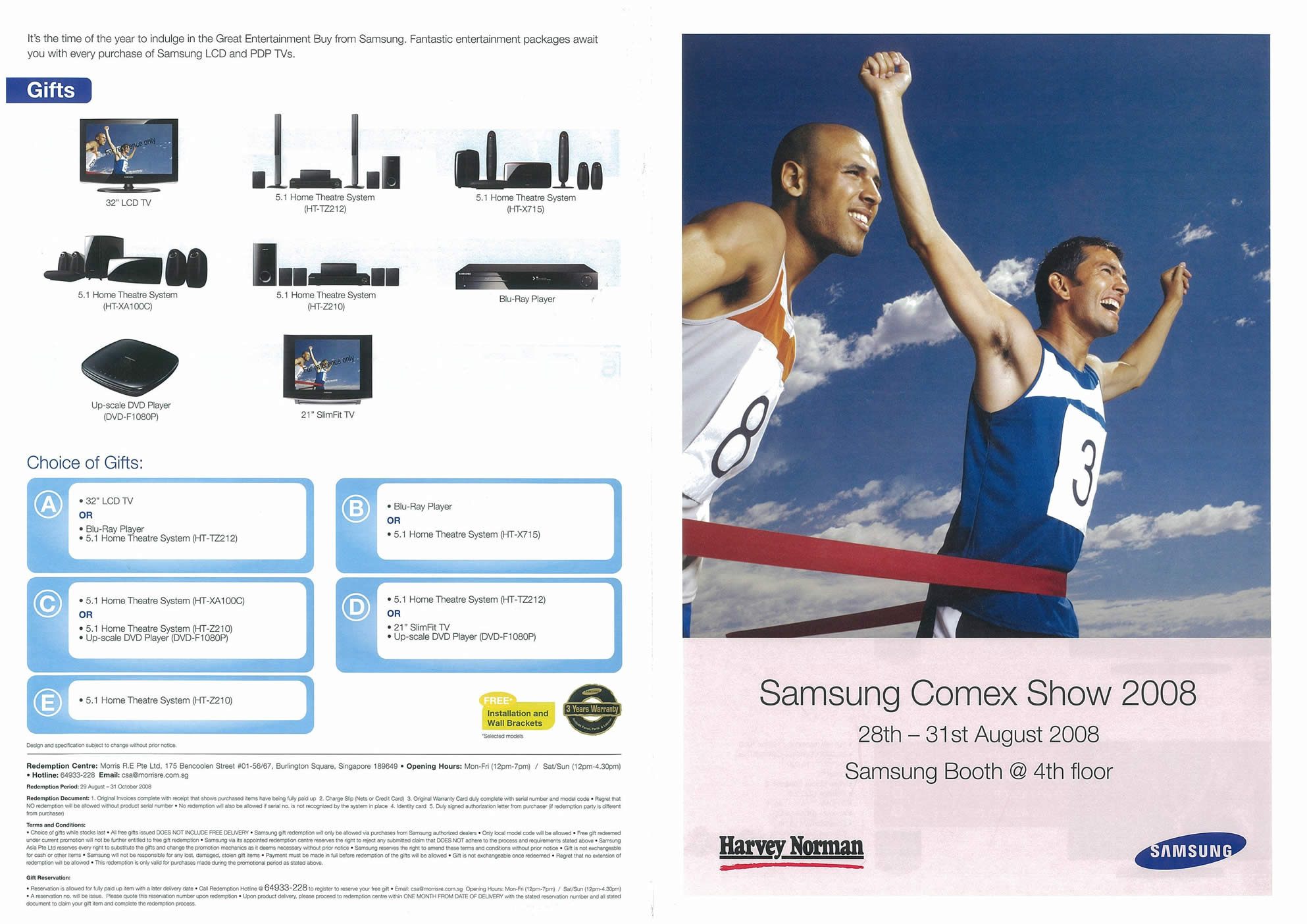 Comex 2008 price list image brochure of Samsung LCD TVs Harvey Norman Page 1