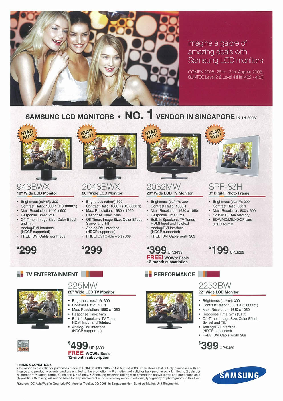 Comex 2008 price list image brochure of Samsung LCD TVs Page 1