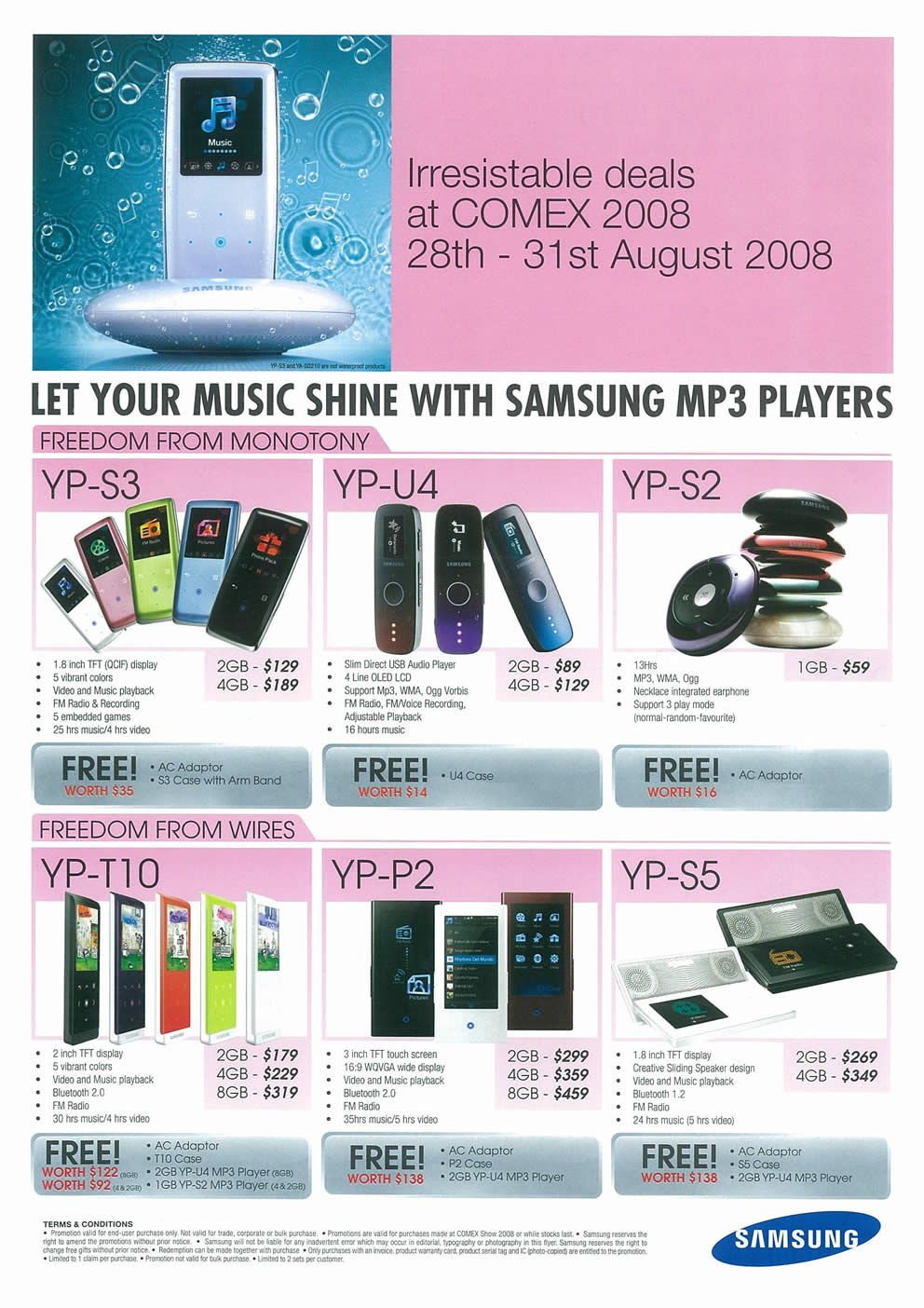Comex 2008 price list image brochure of Samsung MP3 Players