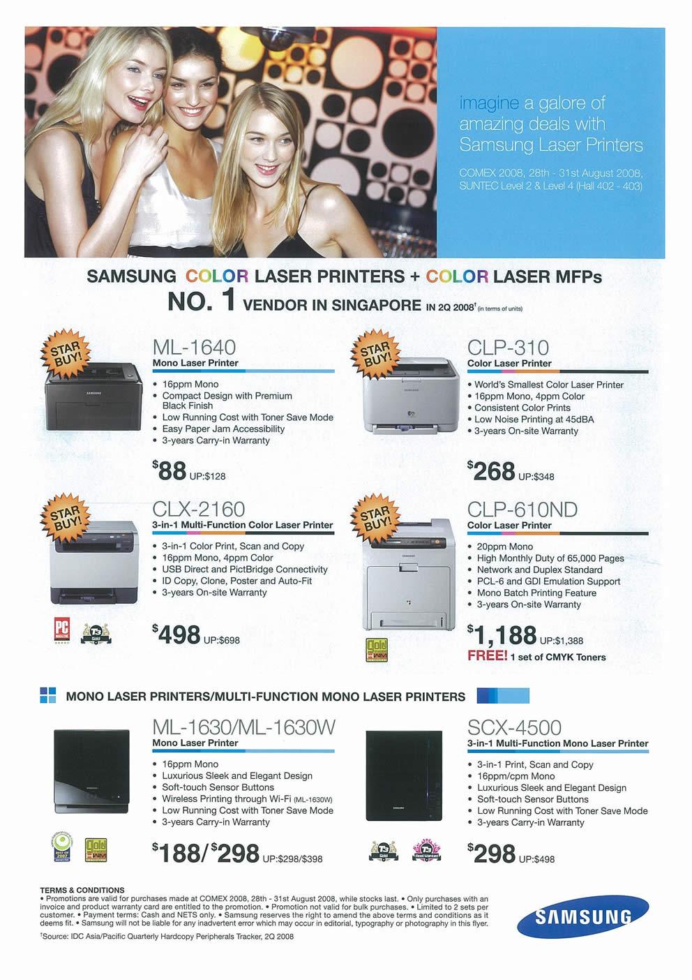 Comex 2008 price list image brochure of Samsung Printers Page 1