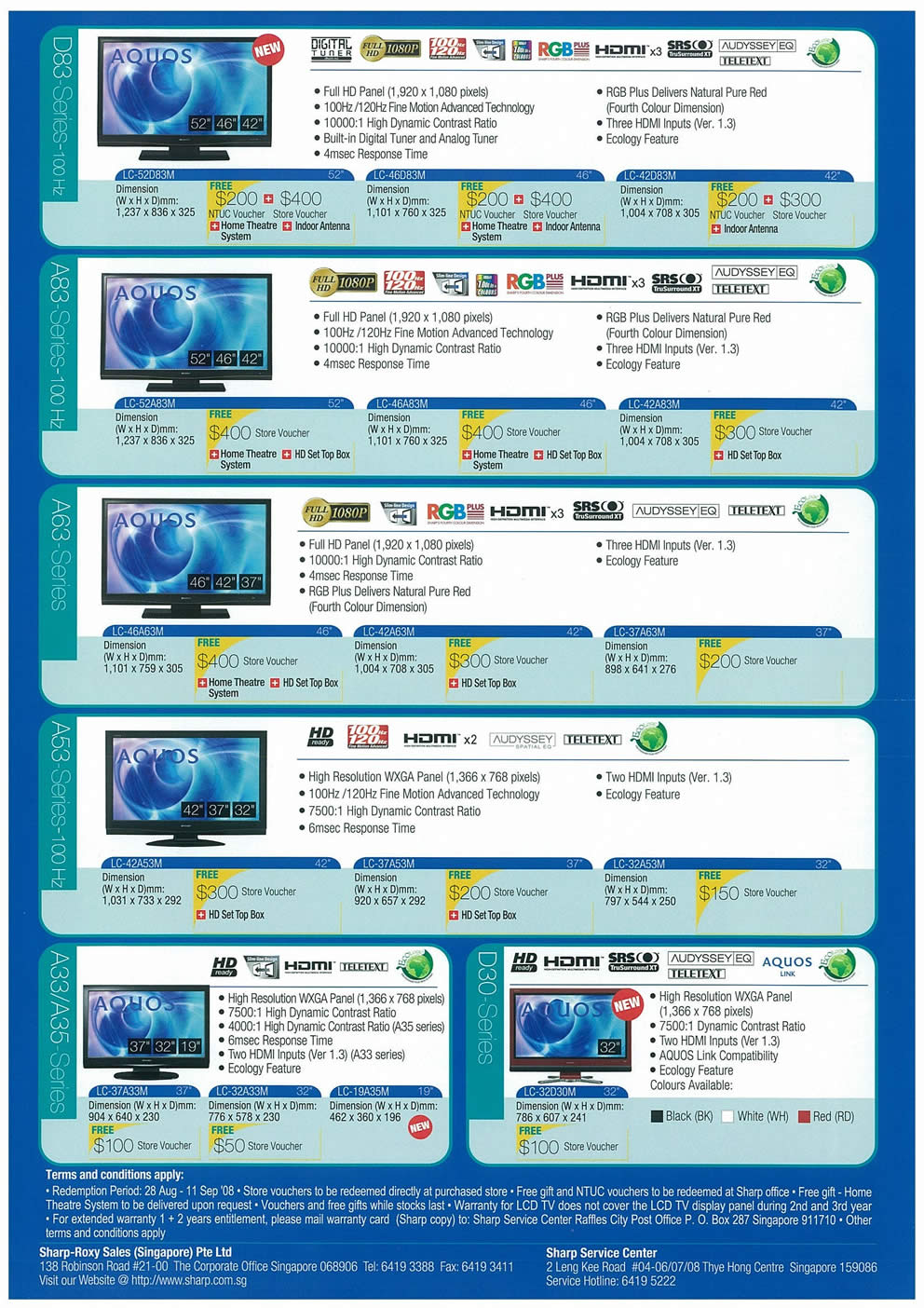 Comex 2008 price list image brochure of Sharp Aquos LCD TV Page 2