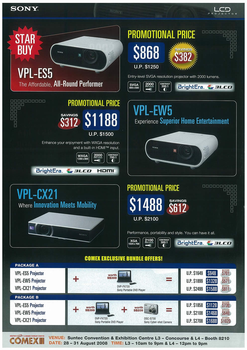 Comex 2008 price list image brochure of Sony LCD Projectors Page 1